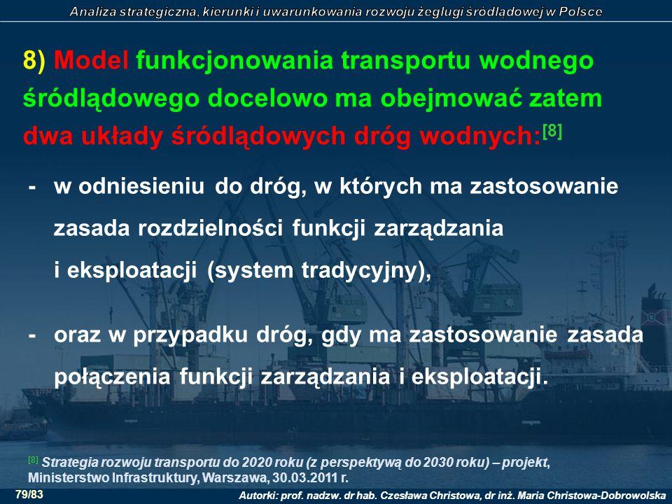 8) Model funkcjonowania transportu wodnego śródlądowego docelowo ma obejmować zatem dwa układy śródlądowych dróg wodnych:[8]